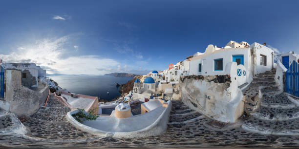 Oia on the island of Santorini in Greece on a sunny morning 360 degree view stock photo