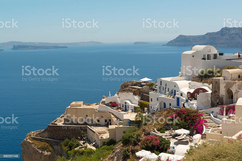Oia panorama stock photo