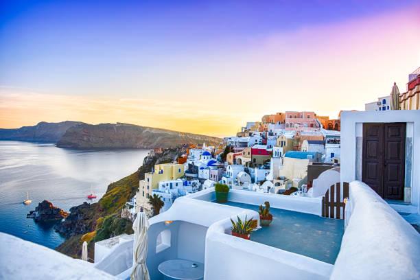 oia, santorini - greece - santorini stock photos and pictures