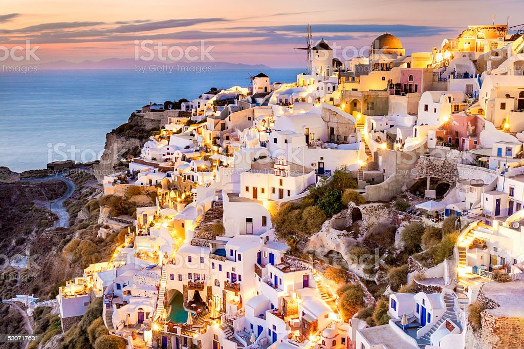 Oia Sunset, Santorini, Greece stock photo