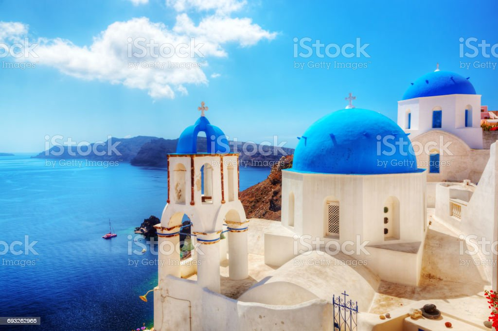 Oia town on Santorini island, Greece. Aegean sea stock photo