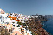 istock Oia town stretching down the cliffside of Santorini 1280501021