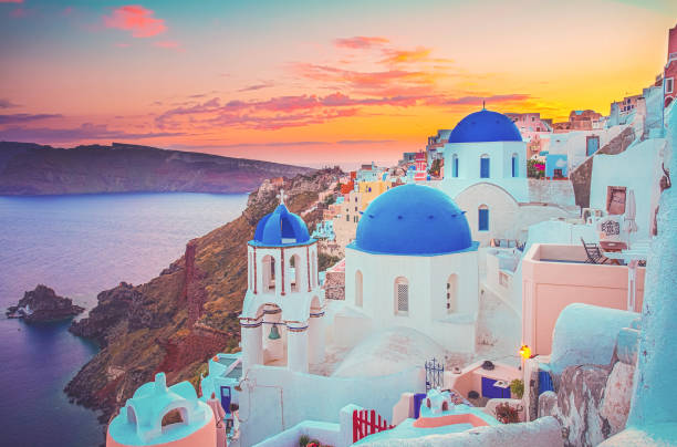 Oia, traditional greek village stock photo