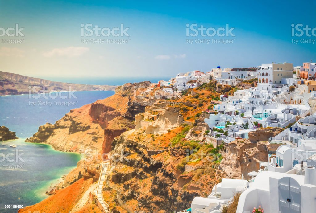 Oia, traditional greek village zbiór zdjęć royalty-free