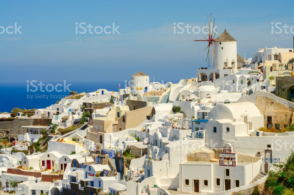 Oia village and the windmill stock photo