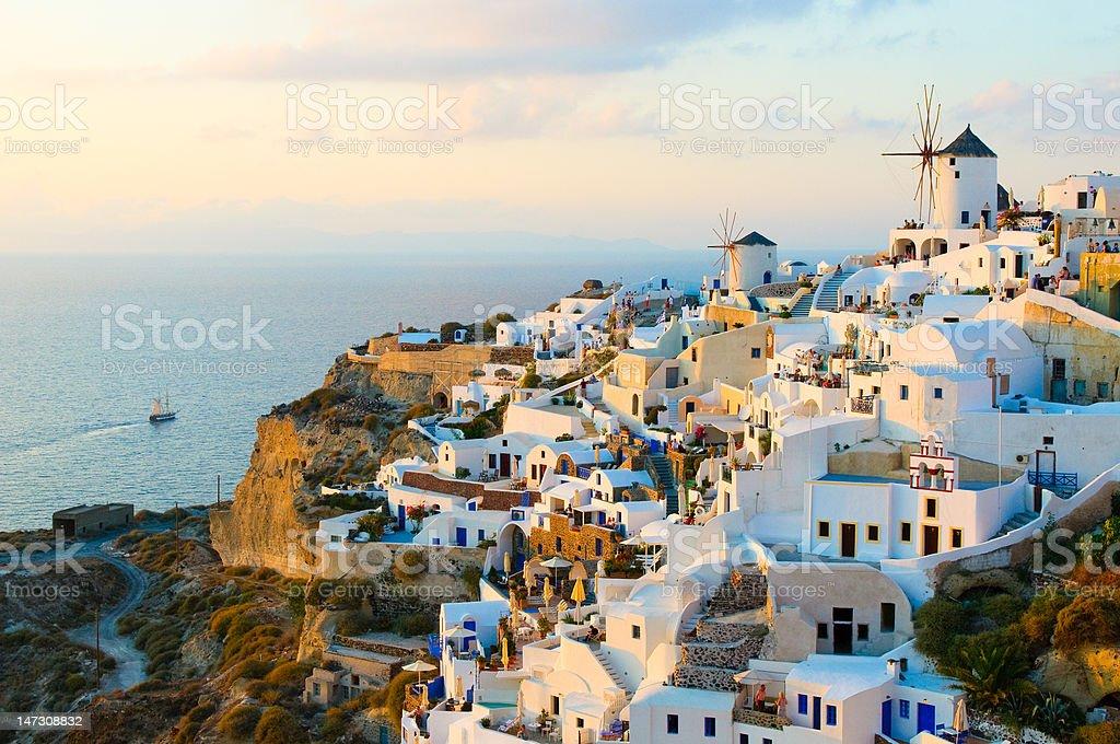 Oia village at Santorini island, Greece stock photo