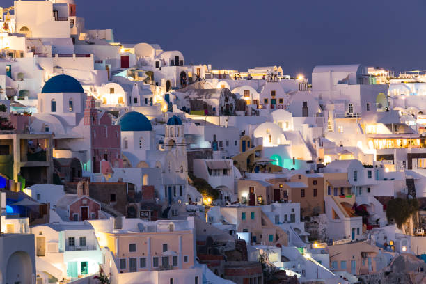 Oia village during evening time stock photo