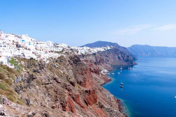 Oia Village in Agean sea stock photo