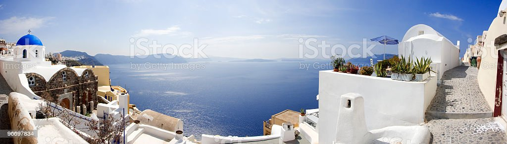 Oia village in Santorini island (panoramic composition) royalty-free stock photo