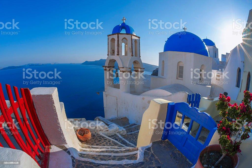 Oia village in Santorini island with famous churches,  Greece stock photo