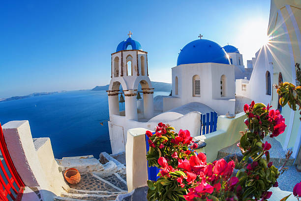 oia village in santorini island with famous churches,  greece - caldera bildbanksfoton och bilder