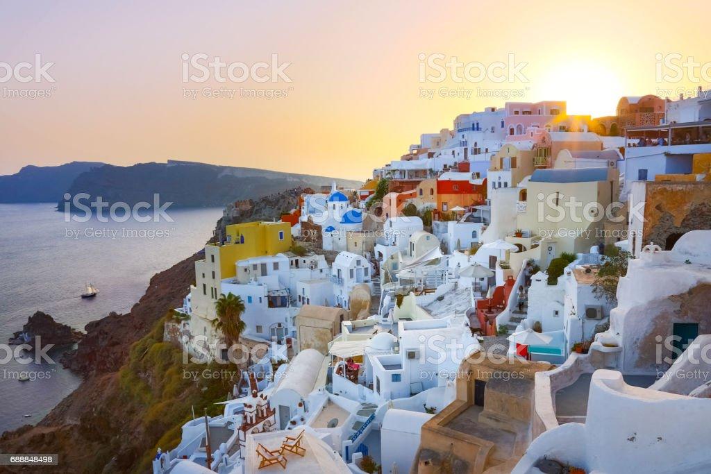 Oia village on Santorini in sunset, Greece. – Foto