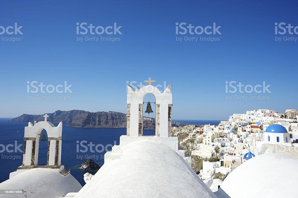 Oia Village Santorini Church Dome Bell Towers stock photo