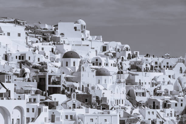 Oia Village with black and white view instead of blue and white stock photo