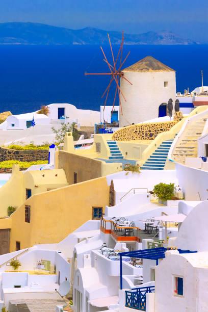 Oia windmill in Santorini island, Greece stock photo