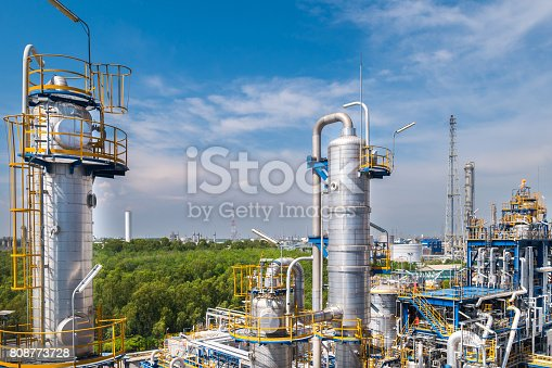Process area structure of oil and chemical refinery industrial plant in day time