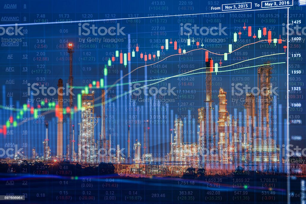 Oil and Energy Companies Stock Investment Concept stock photo