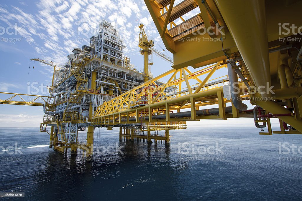 Oil and gas construction in offshore stock photo
