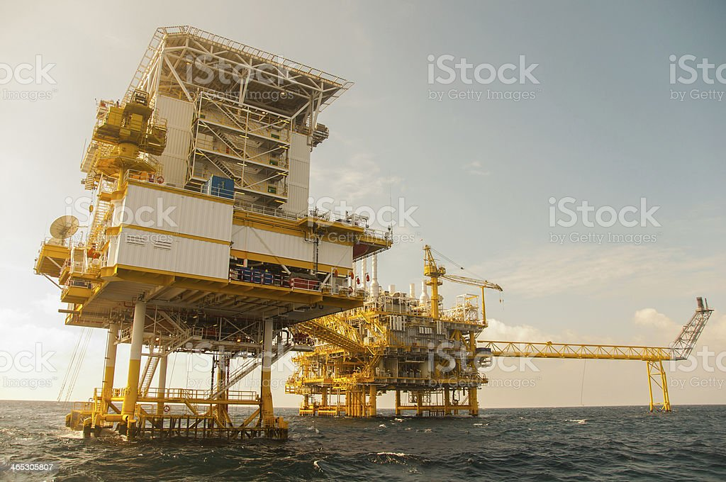 Oil and gas indsutry in the gulf or sea. royalty-free stock photo