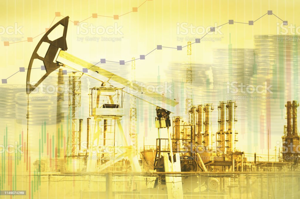 Oil and gas industry, business and financial background. Mining, oil...