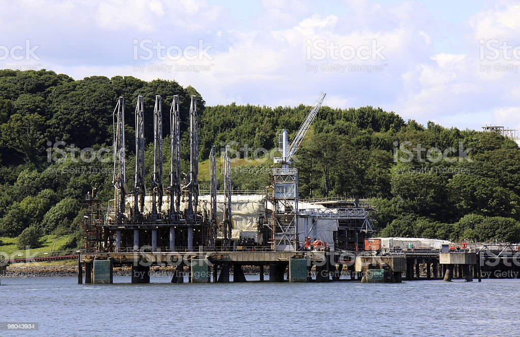 Oil and gas industry in the Firth of Forth, Scotland stock photo