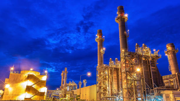Oil and gas industry - Petrochemical factory, Industrial zone and petrochemical plant at sunset stock photo