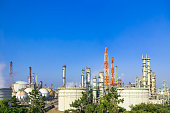 oil and gas industry - Petrochemical plant, oil refinery factory on the blue sky background