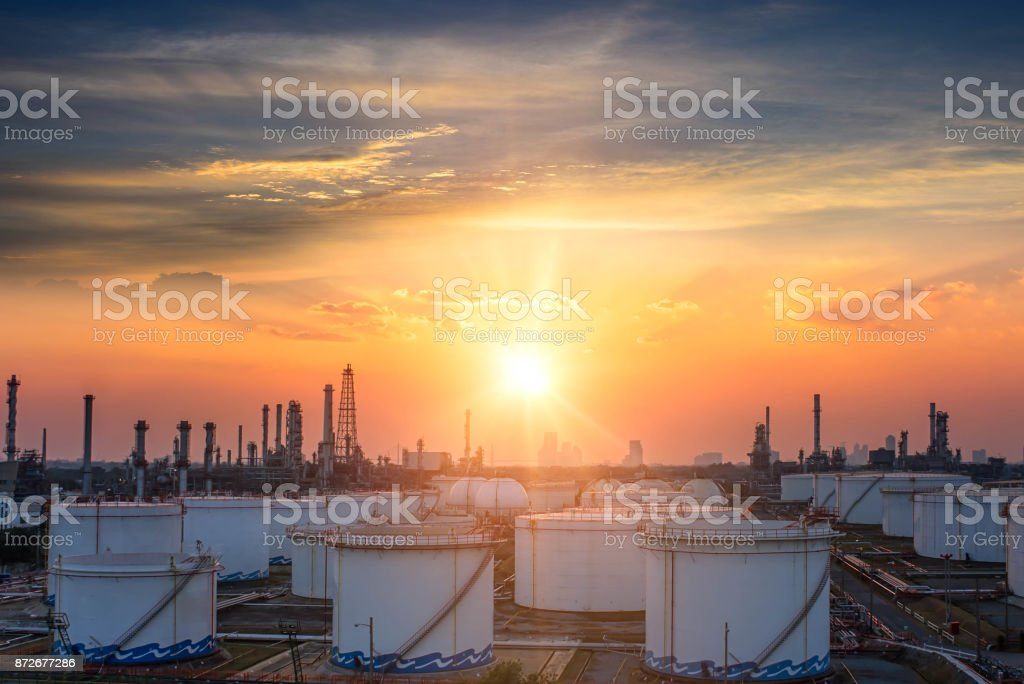 Oil and gas industry - refinery at sunrise - factory - petrochemical plant stock photo