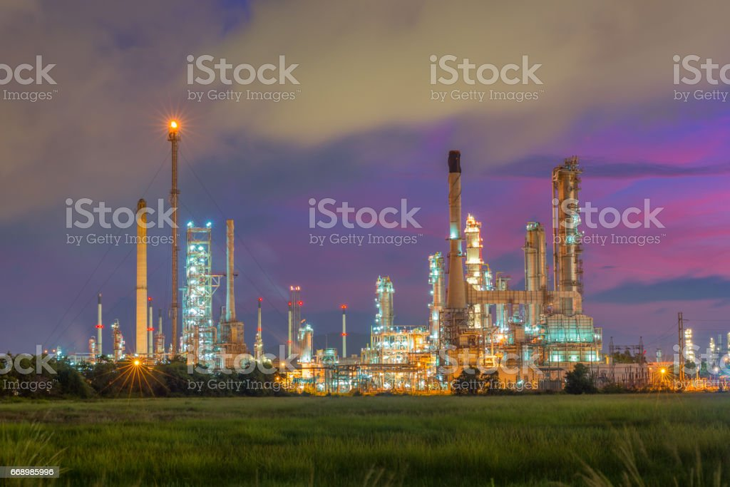 Oil and gas industry - refinery at sunset - factory - petrochemical plant stock photo