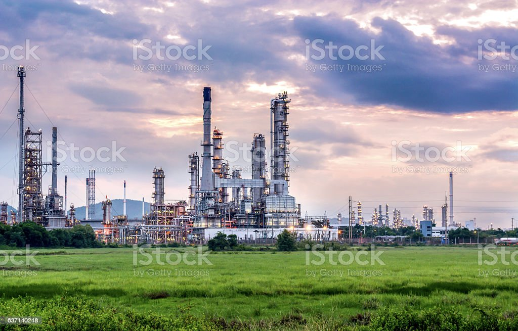 Oil And Gas Industry Refinery At Sunset Factory Stock Photo