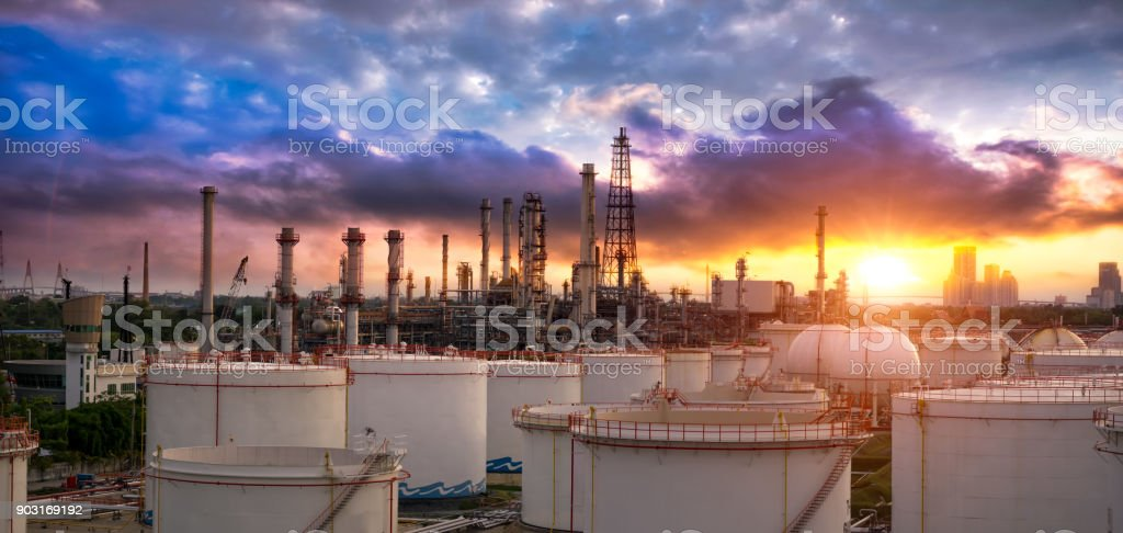 Oil and gas industry - refinery factory - petrochemical plant at sunset royalty-free stock photo