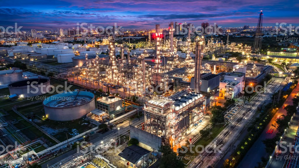 Oil and gas industry - refinery factory - petrochemical plant at twilight stock photo
