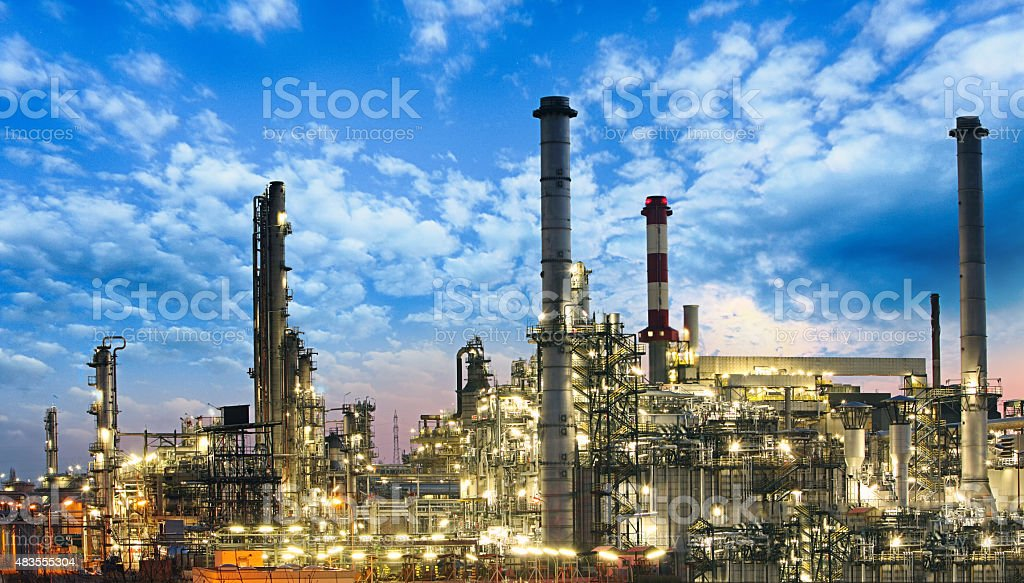 Oil and gas industry - refinery, factory, petrochemical plant stock photo