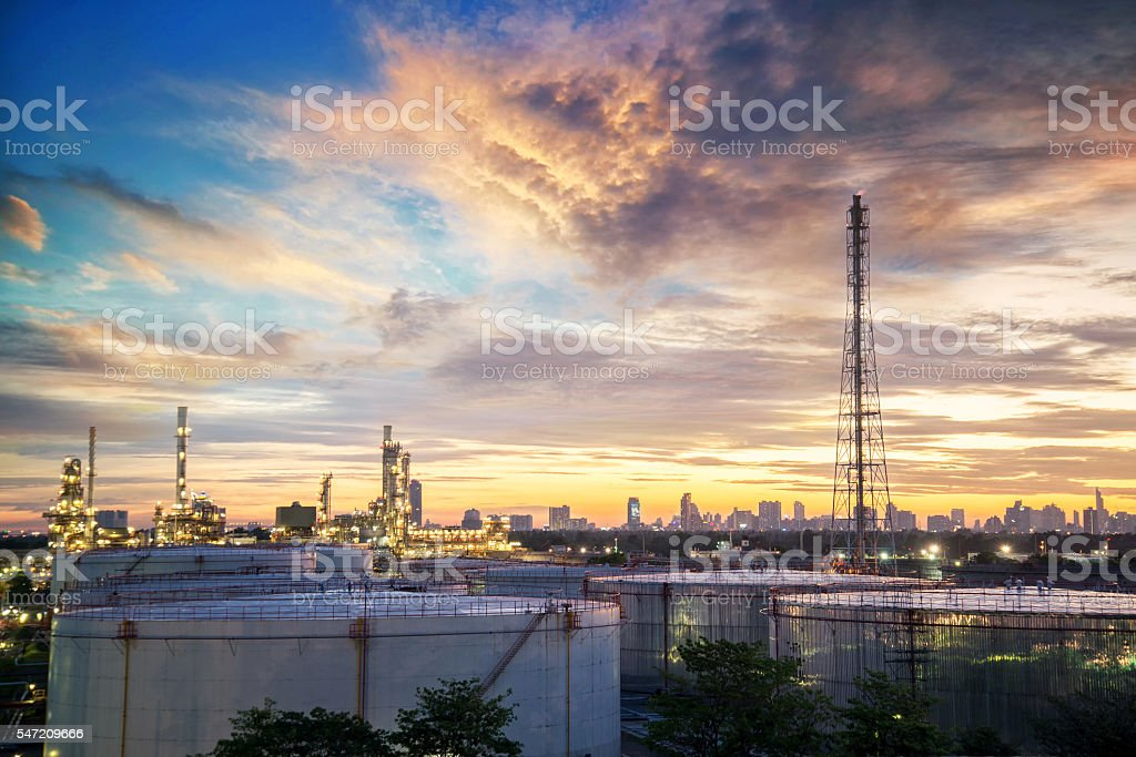 Oil and gas industry - refinery factory stock photo