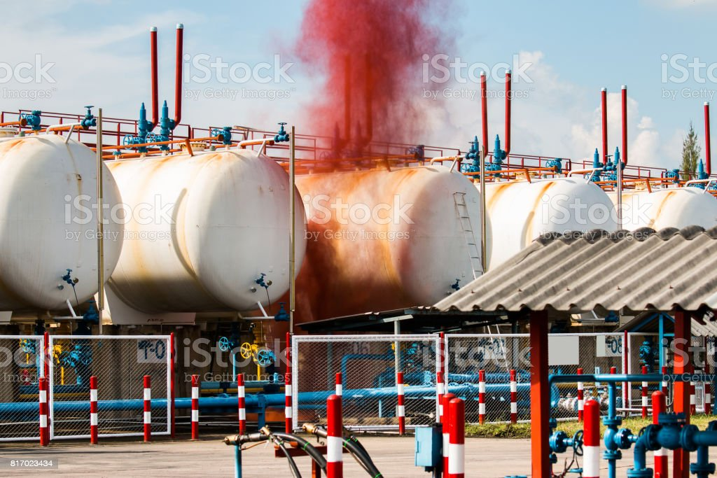 Oil and gas industry refinery factory stock photo