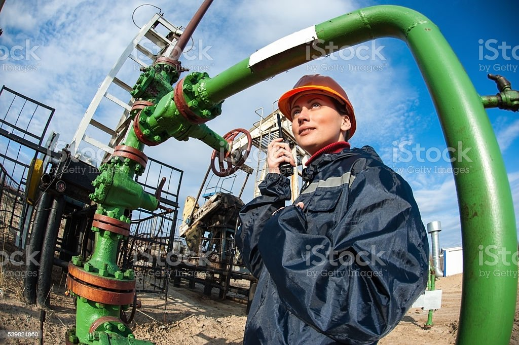 Oil and gas industry worker. stock photo