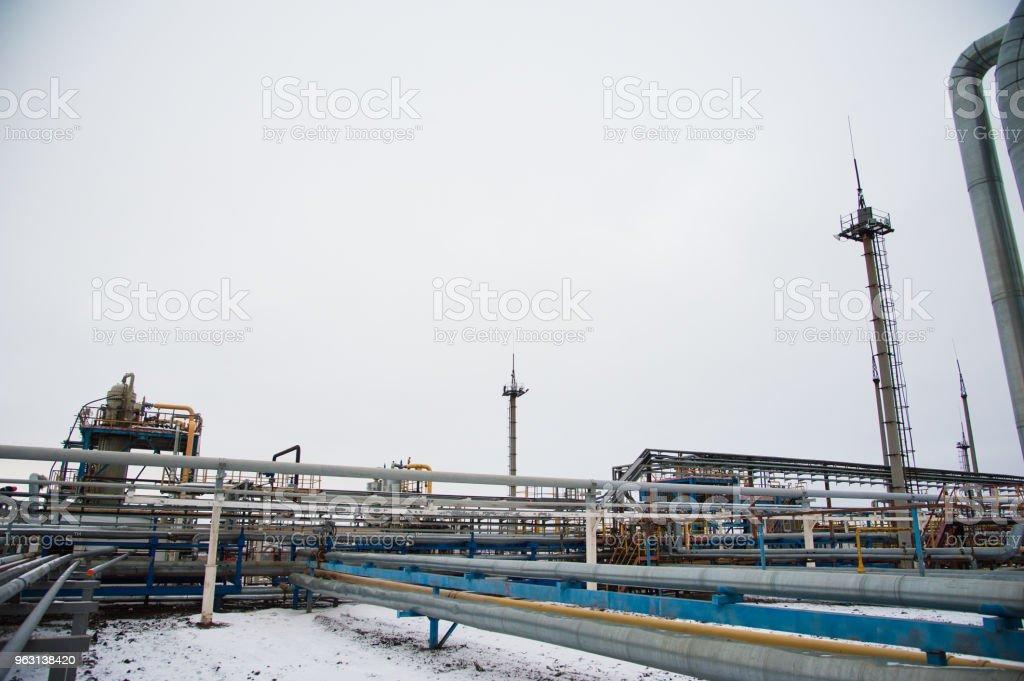 Olja och gas industri, raffinaderiet fabrik - Royaltyfri Energiproduktion Bildbanksbilder