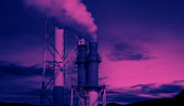 istock Oil and gas petrochemical industrial. Oil refinery petrochemical plant factory from Osaka chemical industry zone of Japan. Many oil storage tank and pipeline steel. Ecosystem healthy environment. 1313881894