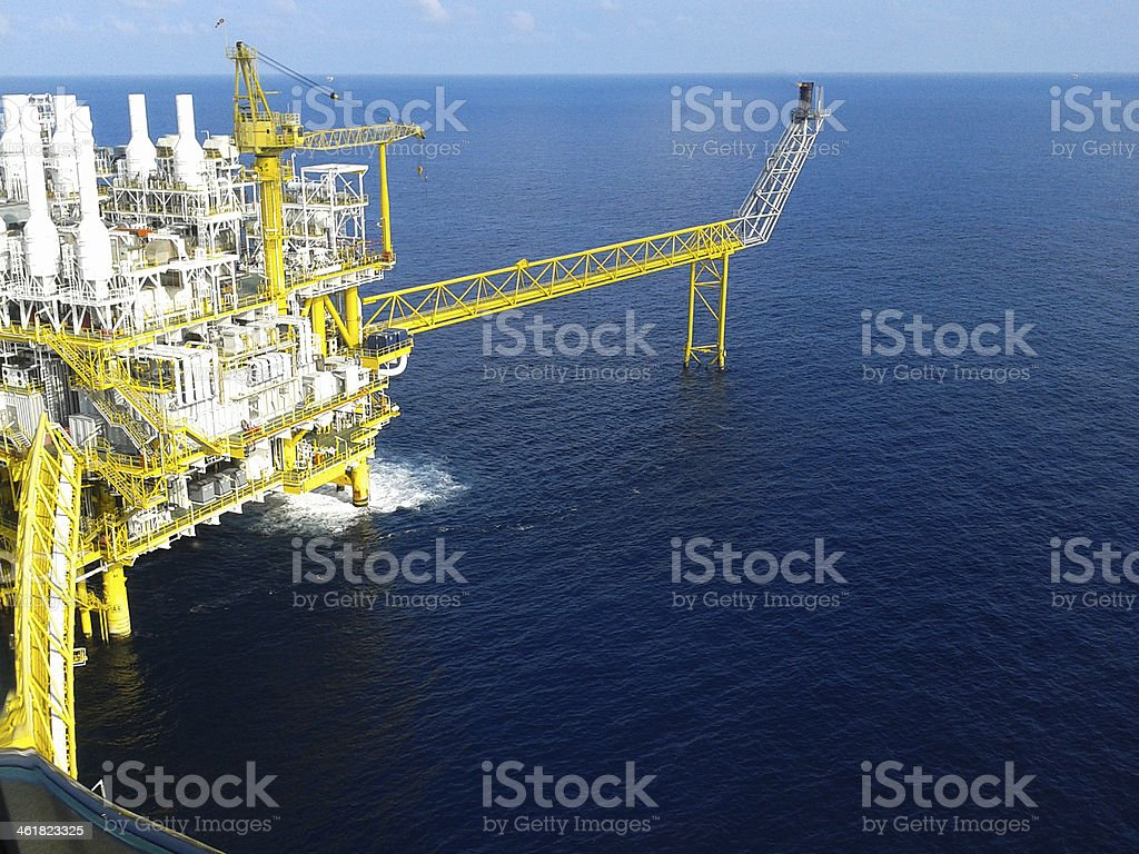 Oil and gas platform in offshore industry stock photo