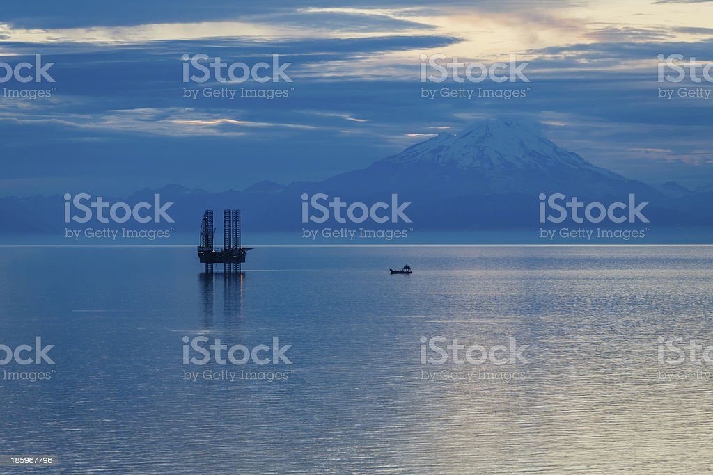 Oil and gas platform in the Cook Inlet stock photo