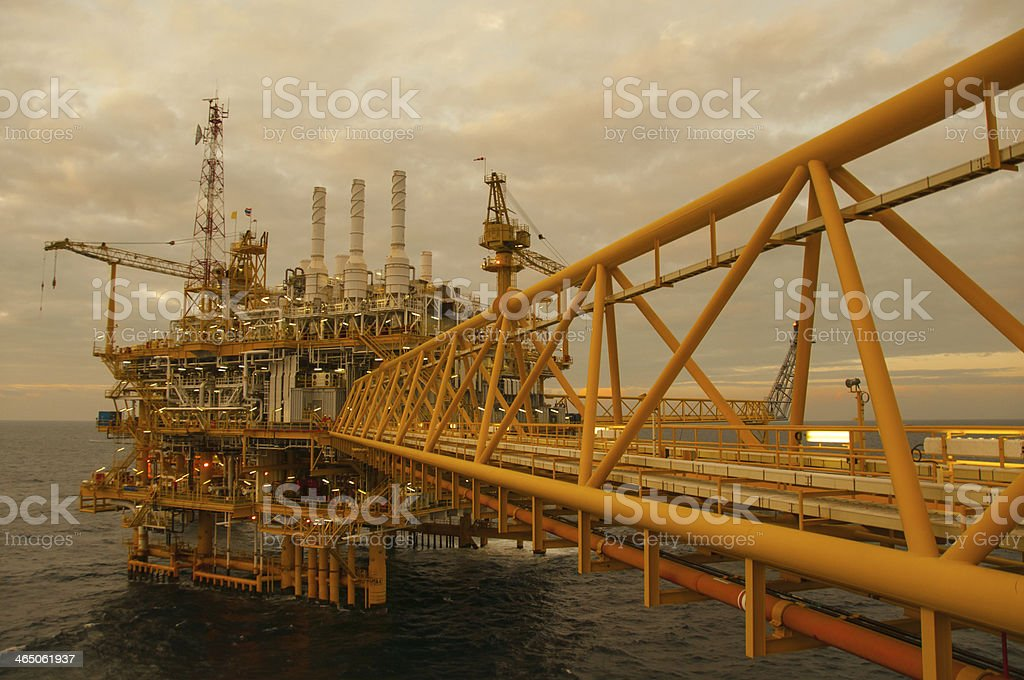 Oil and gas platform in the gulf. royalty-free stock photo