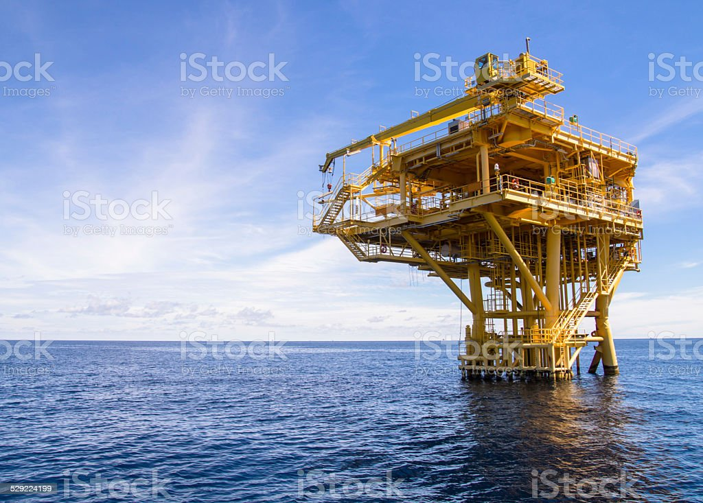 Oil and gas platform with gas burning, Power energy. stock photo