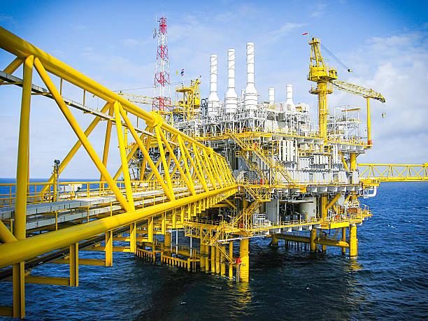 Oil and gas platform with walkway stock photo