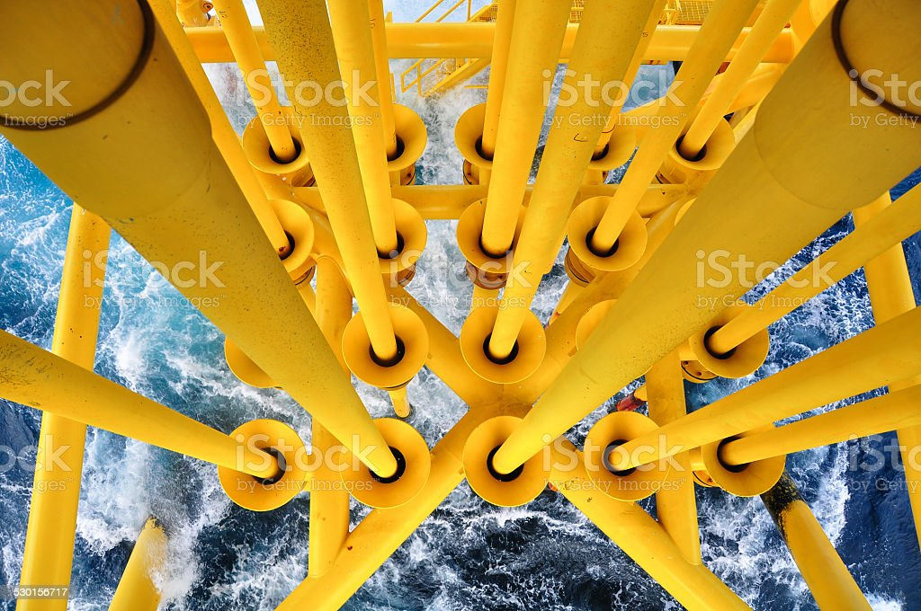 Oil and Gas Producing Slots at Offshore Platform stock photo