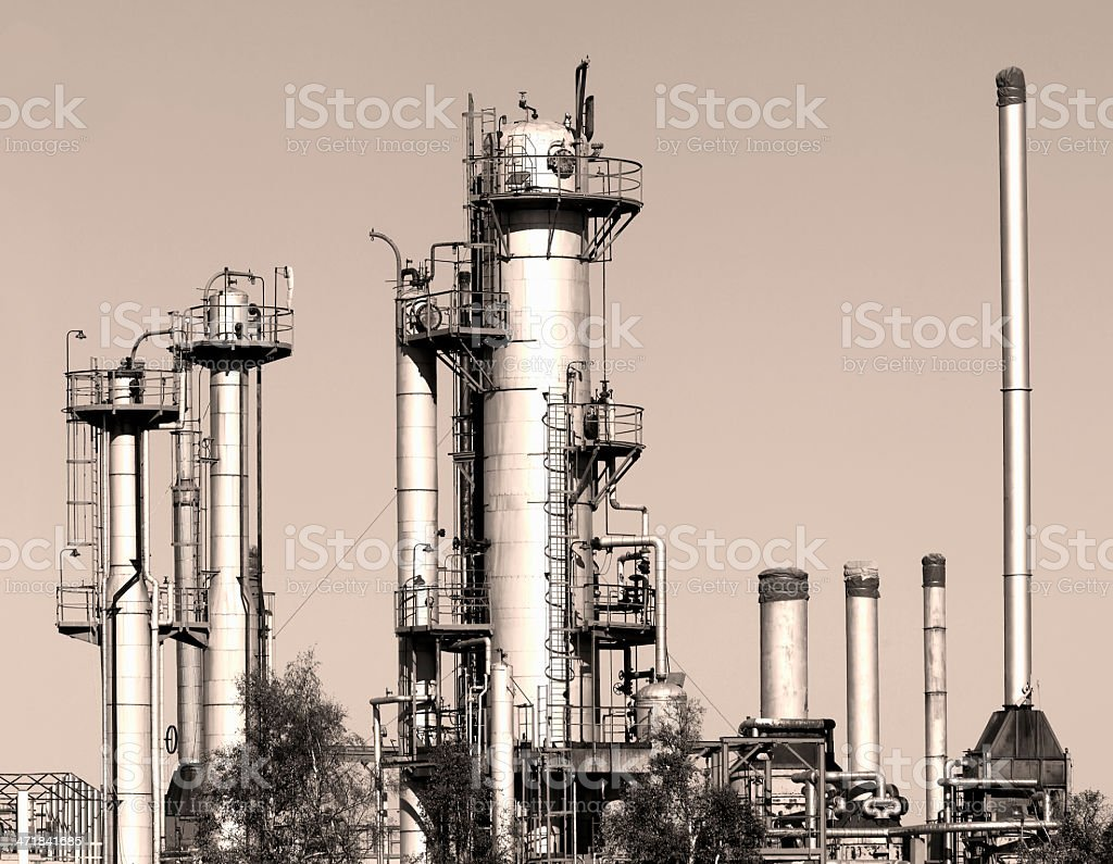 Oil And Gas Refinery In Light Sepia Tone royalty-free stock photo
