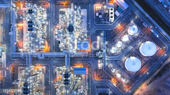 Large industrial estates of oil and gas refinery, Aerial view of industry plants, oil storage tanks and pipeline at night
