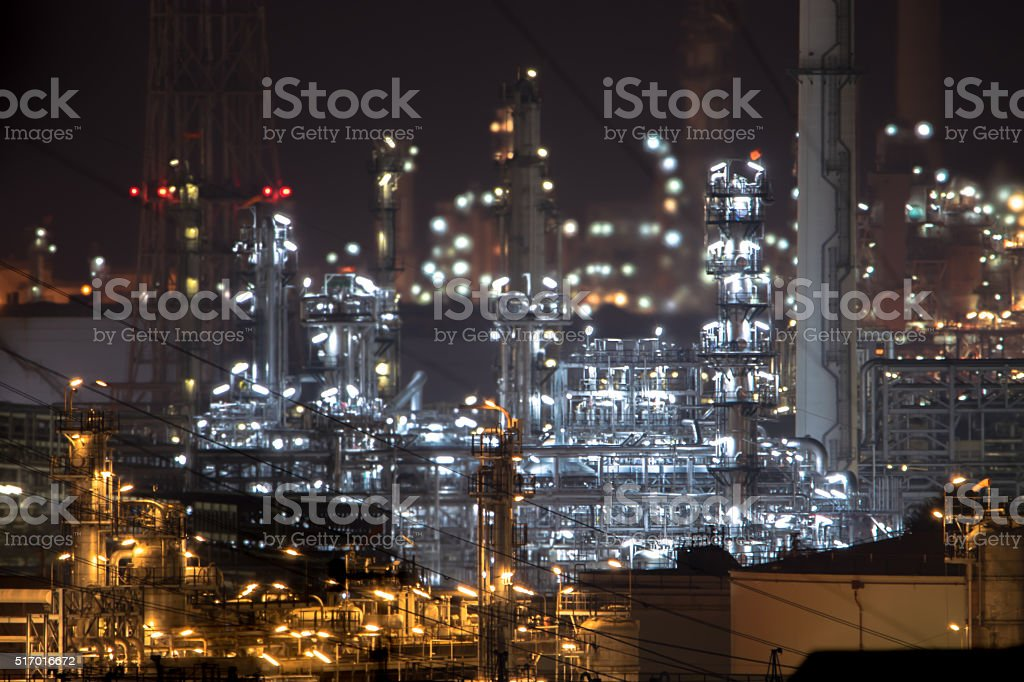 Oil and gas refinery plant area at twilight. stock photo