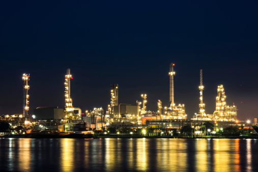 Oil and gas Refinery plant at twilight time