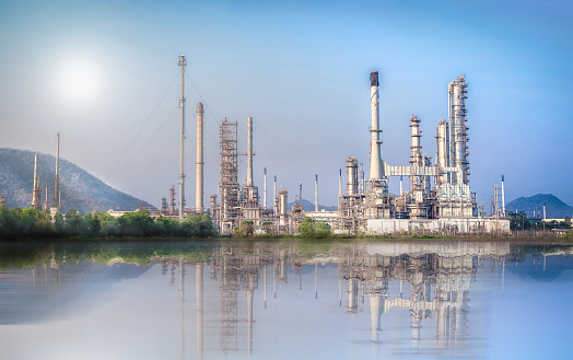 Industrial background of Oil and Gas refinery plant with blue sky, Oil-refinery, Industrial-plant under blue sky, Petrochemical plant.