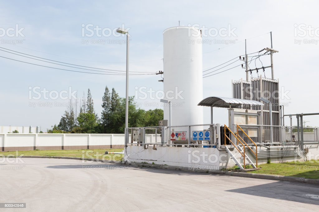 oil and gas storage tanks in open air stock photo